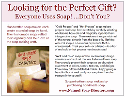 Postcard mailed by the Natural Soap Directory to promote handmade soap.